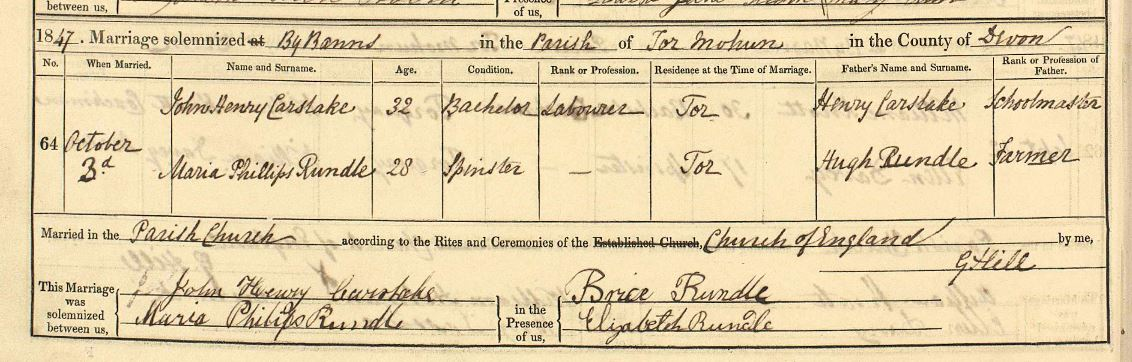 Maria Phillips Rundle marriage