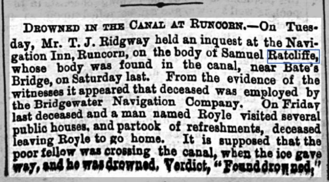 Another Case of Family Lore Changing Details The Death of Samuel Ratcliffe